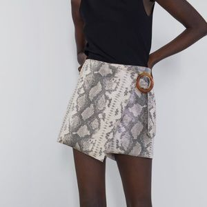 Zara snake print faux suede shorts